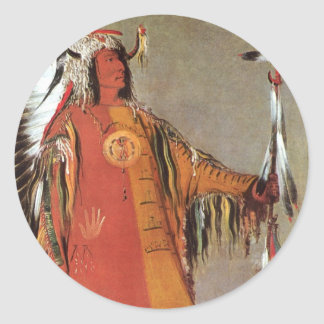 Portait of Indian Chief Mato-Tope by George Catlin Classic Round Sticker