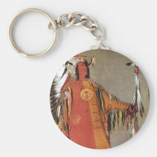 Portait of Indian Chief Mato-Tope by George Catlin Keychain