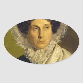 Portait of the Artist's Mother by Alfred Rethel Oval Sticker
