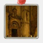 Portal del lado de la catedral de Como, 1850 Adorno Cuadrado Plateado