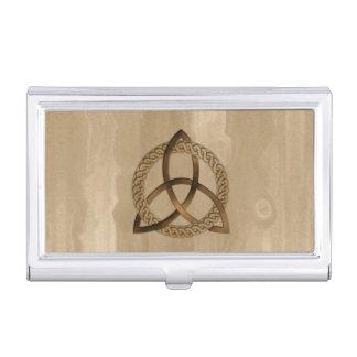 Portatarjetas del nudo de la trinidad de Triquetra Caja De Tarjetas De Presentación