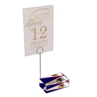 Portatarjetas patriótico del tabel con la bandera soporte de tarjeta de mesa