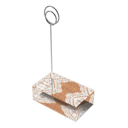 Portatarjetas rústico de la arpillera y de la tabl soportes de tarjeta de mesa