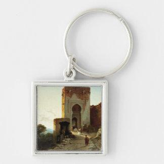 Porte de Justice, Alhambra, Granada (aceite en lon Llavero Cuadrado Plateado