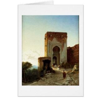 Porte de Justice, Alhambra, Granada (oil on canvas Card