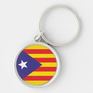 "Porte Drapeau Catalan ""Serenya"" Silver-Colored Round Keychain"
