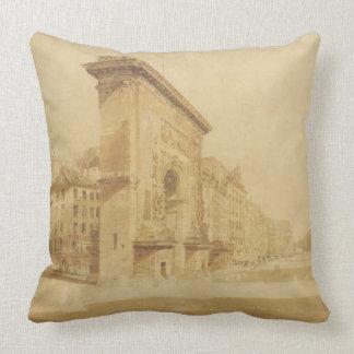 Porte St Denis, Paris (w/c) Throw Pillows