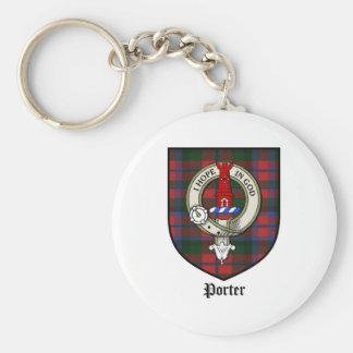 Porter Clan Crest Badge Tartan Basic Round Button Keychain