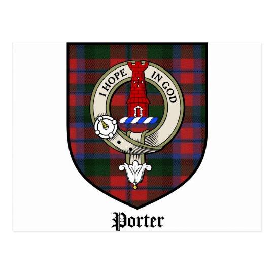 Porter Clan Crest Badge Tartan Postcard