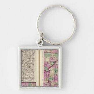 Porter County and Lake County Silver-Colored Square Keychain