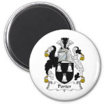 Porter Family Crest 2 Inch Round Magnet