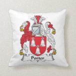 Porter Family Crest Throw Pillow