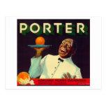 Porter Orange LabelPorterville, CA Postcards
