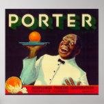 Porter Orange LabelPorterville, CA Print