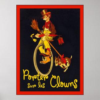 Porter Sur Les Clowns ~ Vintage Circus Poster