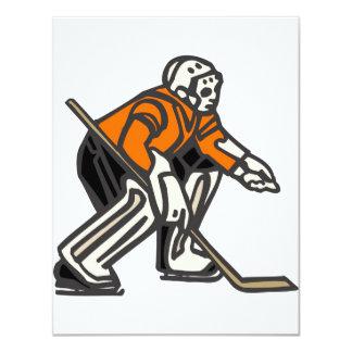 Portero anaranjado del hockey comunicados