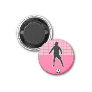 Portero de la ETIQUETA del chica del fútbol (de se Imán Redondo 3 Cm