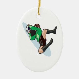 Portero del fútbol ornamento para arbol de navidad