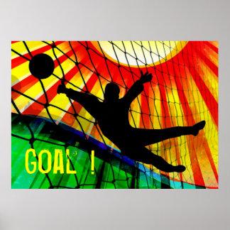 Portero del fútbol del resplandor solar y de la re poster