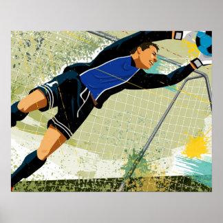 Portero del fútbol que bloquea la bola póster