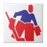 Portero del hockey azulejos ceramicos