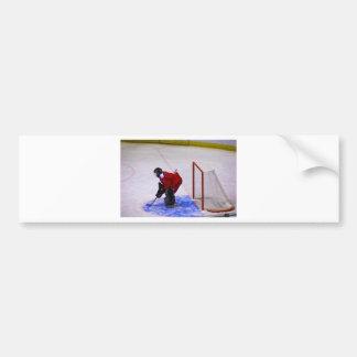 portero del hockey etiqueta de parachoque