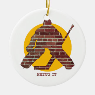 Portero del hockey de la pared de ladrillo adorno navideño redondo de cerámica