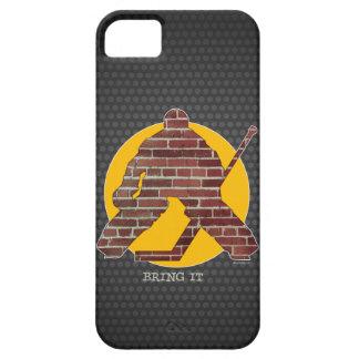 Portero del hockey de la pared de ladrillo funda para iPhone SE/5/5s