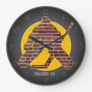 Portero del hockey de la pared de ladrillo reloj redondo grande