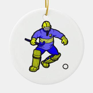 Portero del hockey hierba adorno navideño redondo de cerámica