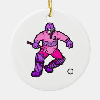 Portero del hockey hierba adorno redondo de cerámica