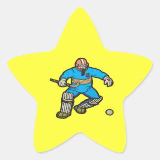 Portero del hockey hierba calcomania forma de estrella personalizada