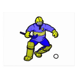 Portero del hockey hierba postales