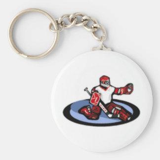 Portero del hockey llavero redondo tipo pin