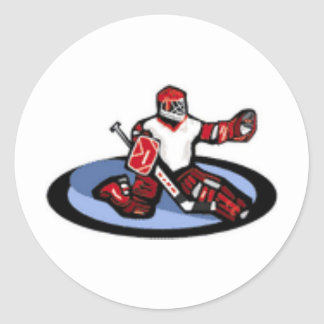 Portero del hockey pegatina redonda