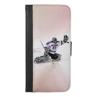 Portero del hockey sobre hielo con su dibujo