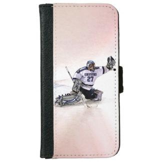 Portero del hockey sobre hielo con su dibujo funda cartera para iPhone 6