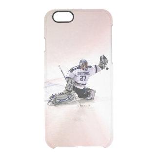 Portero del hockey sobre hielo con su dibujo funda clear para iPhone 6/6S