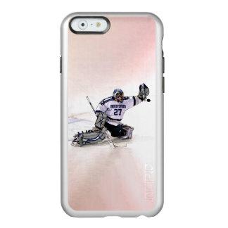 Portero del hockey sobre hielo con su dibujo funda para iPhone 6 plus incipio feather shine