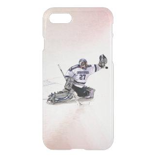 Portero del hockey sobre hielo con su dibujo funda para iPhone 7