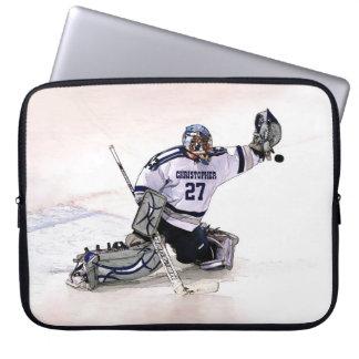 Portero del hockey sobre hielo con su dibujo mangas portátiles