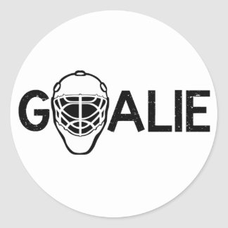 Portero del hockey sobre hielo pegatina redonda