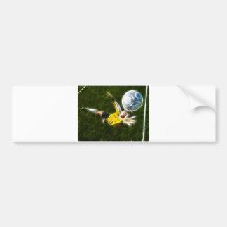 Portero en la acción etiqueta de parachoque