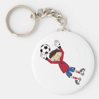 Portero lindo del fútbol del fútbol del dibujo ani llaveros personalizados