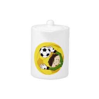 Portero lindo del fútbol del fútbol del dibujo ani