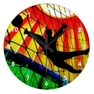 Portero, red y hierba del fútbol reloj redondo grande