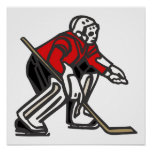 Portero rojo del hockey impresiones
