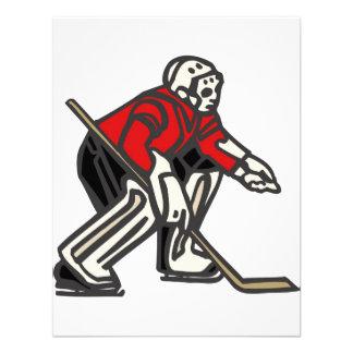 Portero rojo del hockey invitacion personal