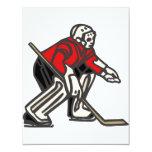 Portero rojo del hockey invitación 10,8 x 13,9 cm
