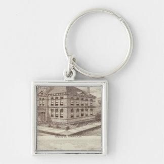 Porterville school, store Silver-Colored square keychain